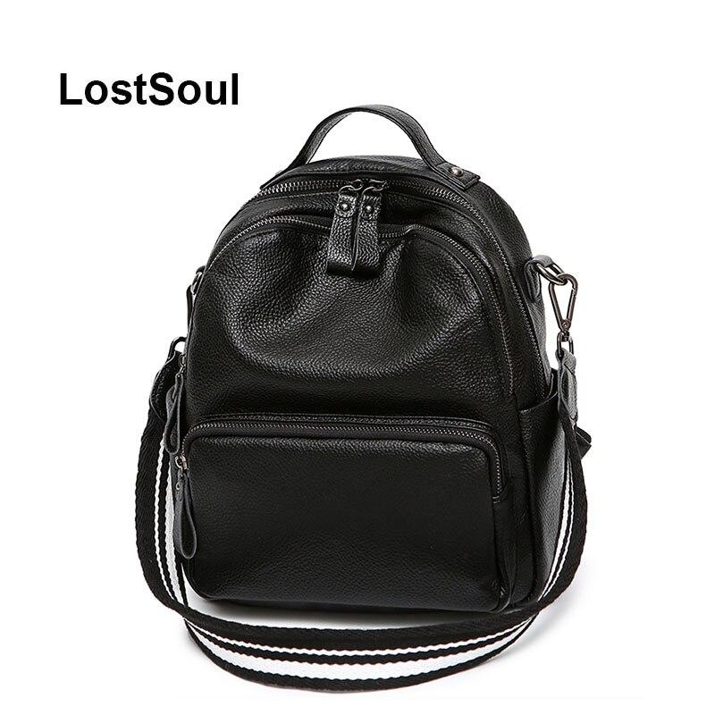 LostSoul fashion female backpack genuine leather women bag designer casual black soft leather bags mochila mujer cuero natural