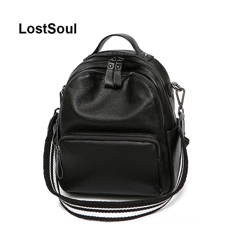 LostSoul mode femelle sac à dos en cuir véritable femmes sac designer casual noir en cuir souple sacs mochila mujer cuero naturel