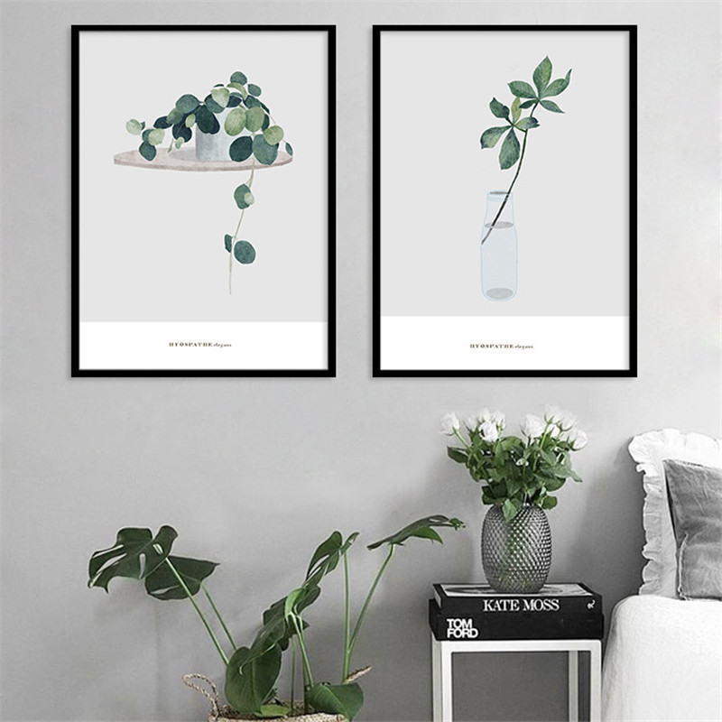 US $4 76 42% OFF|Bonsai Plant Home Decor Nordic Painting Wall Art DIY  Poster Print Living Bedroom Background Backdrop Supply Abstract Leaves-in