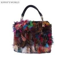 2017 frauen des echten Leders Handtaschen Farbe Fuchspelz Umhängetasche Winter Einkaufstasche Schwarz Leder Crossbody Taschen Bolsa Feminina