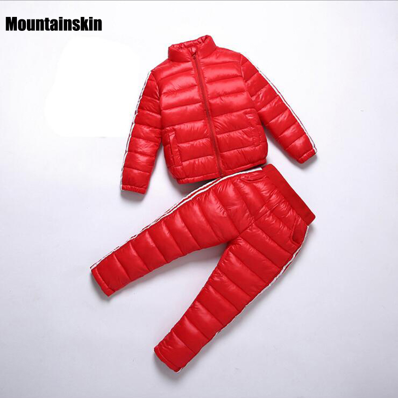 2PCS Sets 2016 Winter Kids Down Cotton Parkas Pants Girls Boys Clothing Sets 2 9Y Children