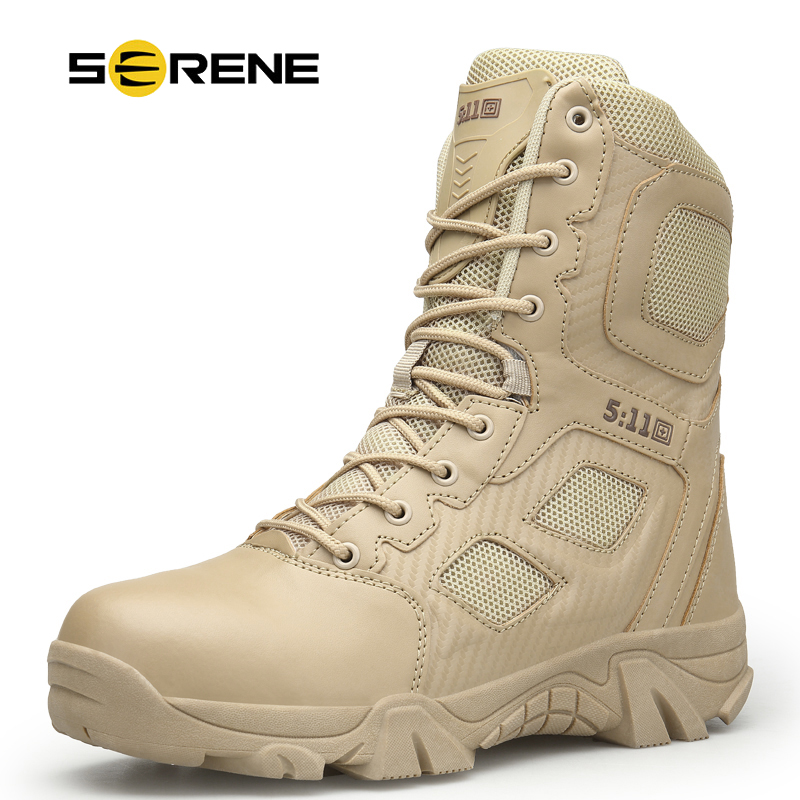 SERENE New Brand Men's Boots Big Size Military boot Chukka Ankle Bot Tactical Army Male Shoes Safety Combat Mens Motocycle Boots-in Basic Boots from Shoes    1