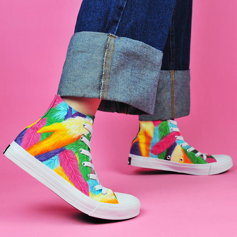 Wen Design Custom Bright Colourful Feathers Hand Painted High Top Sneakers Canvas Shoes Women Athletic Shoes Plimsolls Men