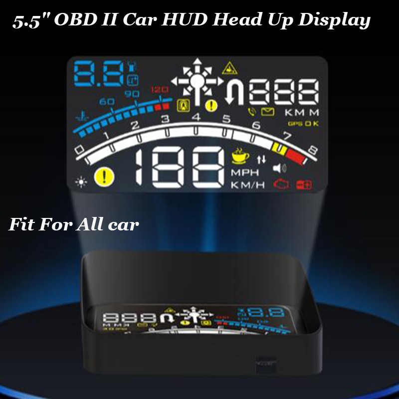 1pcs/lot Blue White Color Universal 5.5 Car OBD2 II EUOBD lamp Car HUD Head Up Display projector auto head up display lights universal 3 5 car hud a3 head up display with obd2 interface