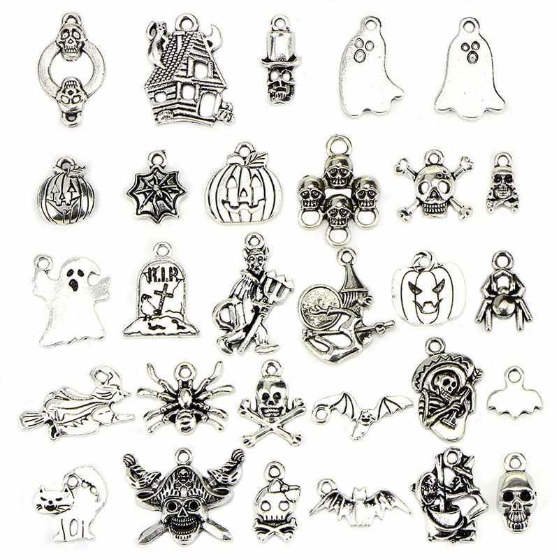 1 סט לערבב עתיק כסף תליוני עץ חג המולד סנטה ליל כל הקדושים Ghost פתית שלג קסם עבור DIY Nekclace צמיד תכשיטים
