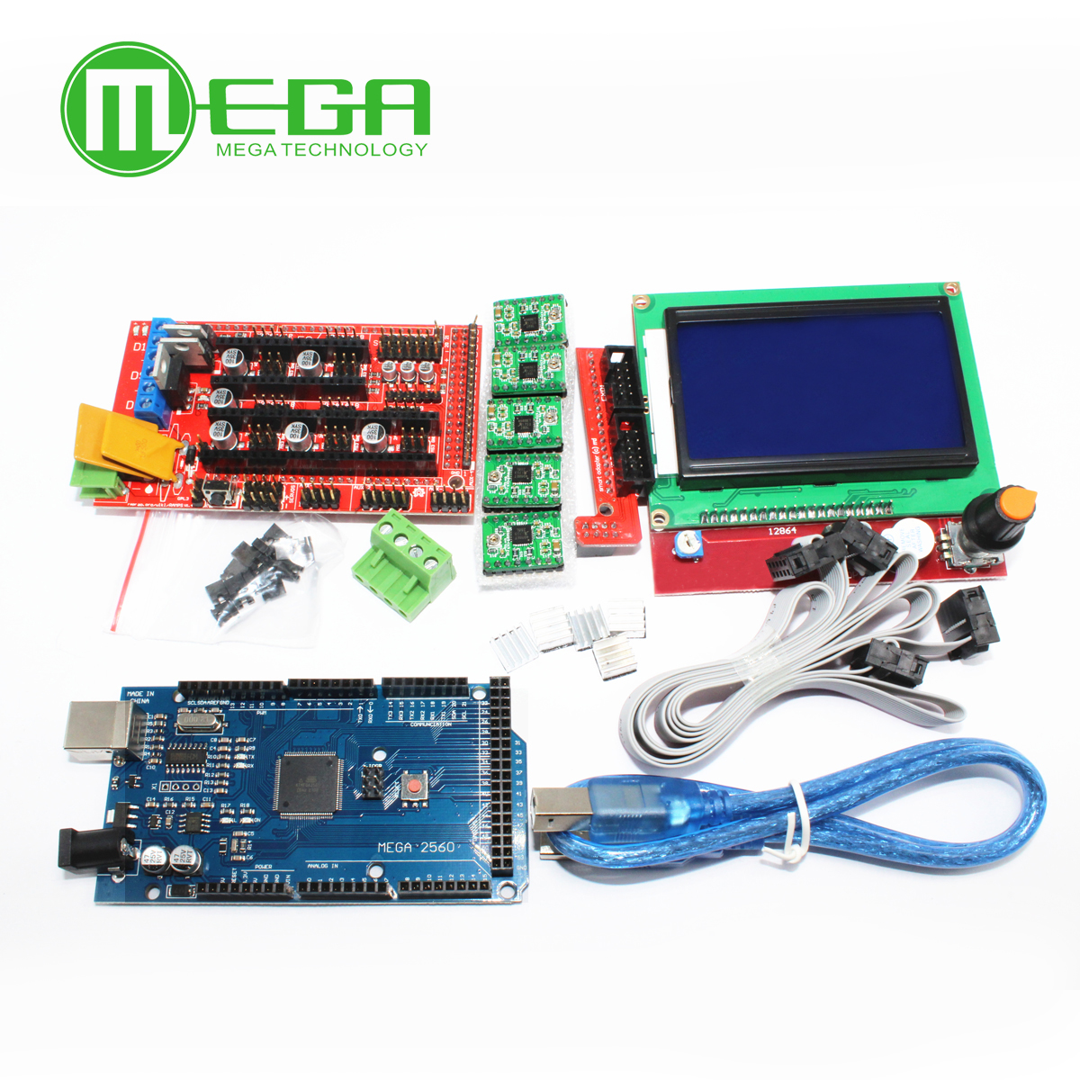 1 unids Mega 2560 R3 CH340 + 1 unids rampas 1,4 controlador + 5 unids A4988 paso a paso módulo + 1 unids 12864 controlador para 3D kit de impresora