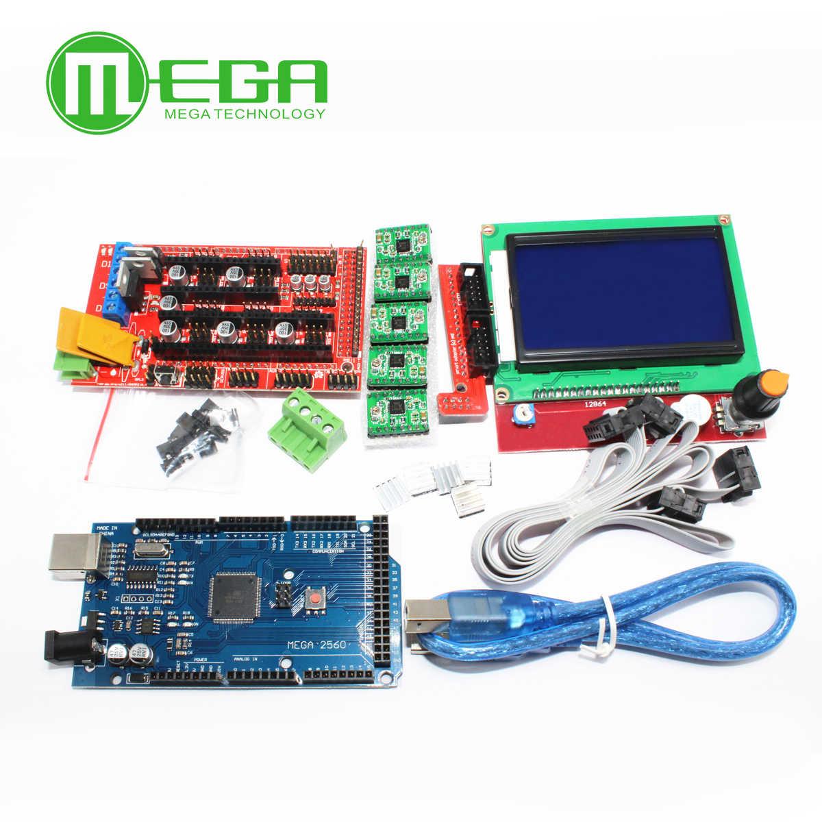 1Pcs Mega 2560 R3 CH340 + 1Pcs RAMPS 1.4 Controller + 5Pcs A4988 Stepper Driver Module + 1Pcs 12864 สำหรับ 3Dชุดเครื่องพิมพ์