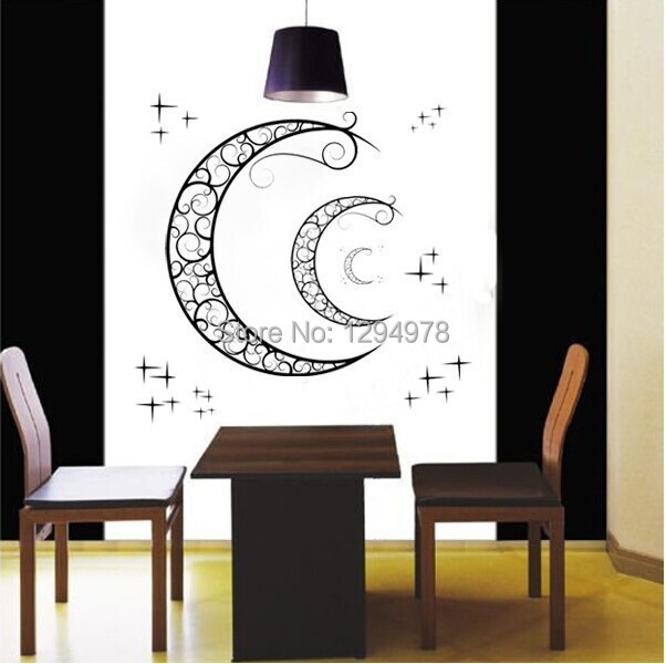 High quality crescent moon stars window stickers removable wall stickers decor nursery kids room home decor