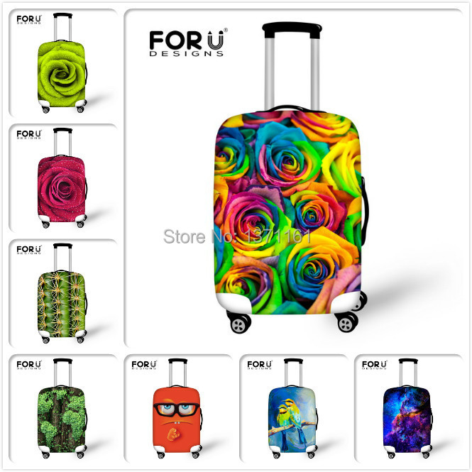 Free Shipping 3D New Travel Luggage Cover Colorful Flower Elastic ...