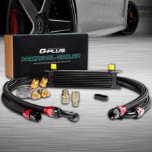 10 Row Thermostat Adaptor Engine Racing Oil Cooler Kit For CAR TRUCK Black