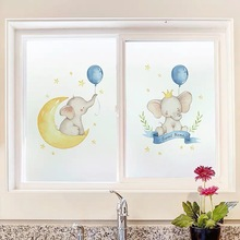 Cartoon baby elephant Static Window Film Custom Glass Sticker Stained privacy non-Adhesive Frosted door Home Decorative PVC film