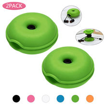 2 PC Kreatif Lucu Donut Magnet Silika Headphone Earphone Pemegang Kabel Winder Kabel Organizer Kotak Penyimpanan Kabel Kasus Managemet(China)