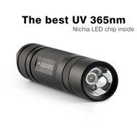 Convoy S2 Black UV 365nm Led Flashlight Nichia 365UV In Side OP Reflector Fluorescent Agent Detection