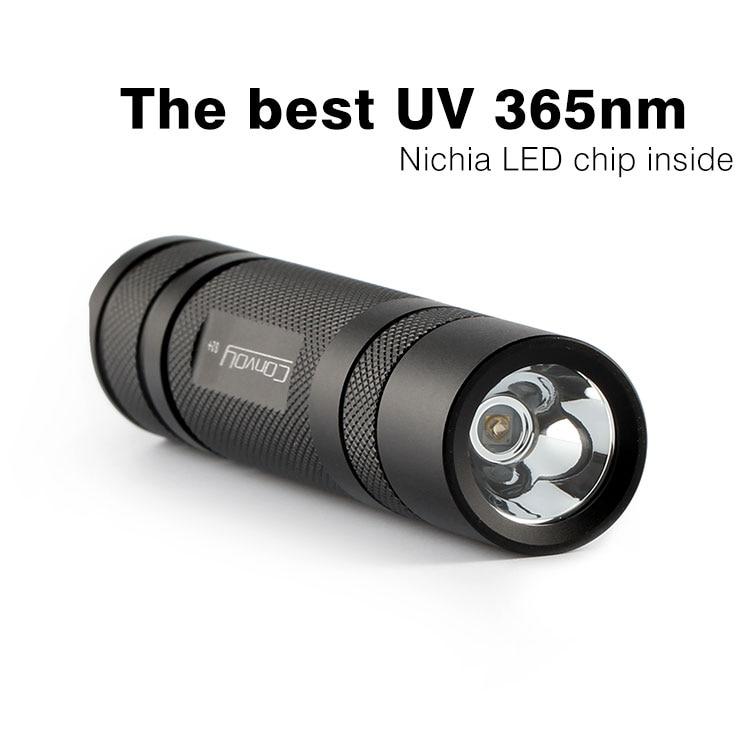 Convoy S2 + Black UV 365nm Led Flashlight Nichia 365UV Inside OP Reflector Fluorescent Agent Detection tt tf ths 02b hybrid style black ver convoy asia exclusive