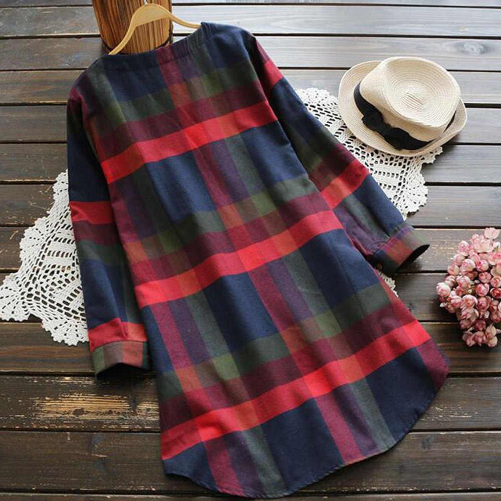 Женское платье большого размера с длинным рукавом в клетку, свободное платье-рубашка размера плюс, винтажная туника, осенние платья для вечеринок Vestidos