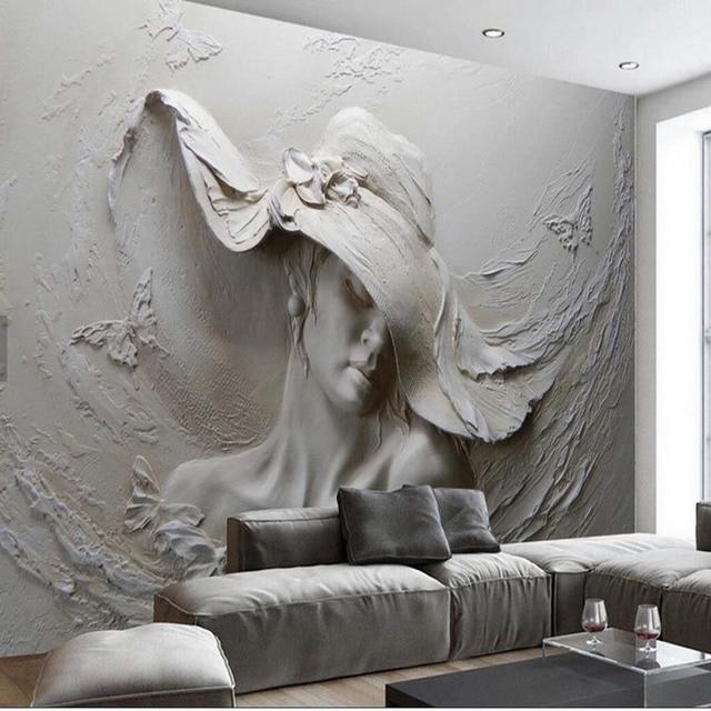 En Relief Fille Photo Papier Peint Fonds D Ecran Pour Chambre Salon