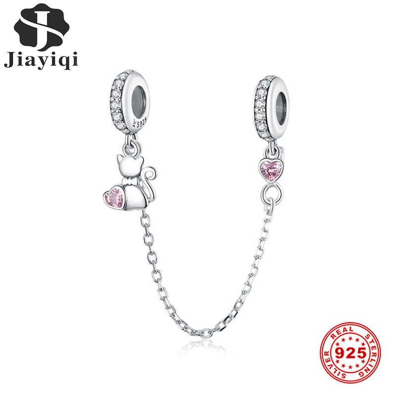 Jiayiqi Authentic 925 Sterling Silver Cute Cat Safety Chain Charm Fit Bracelet For Women Engagement Luxury Jewelry Making Gift