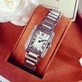 2016 розовое золото squar циферблат женские часы топ роскошные известный бренд моды авто дата дамы стали кварцевые наручные часы женские часы