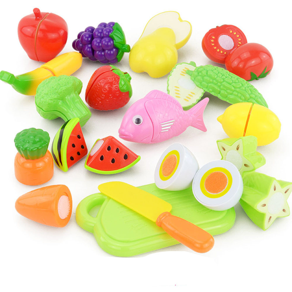 2017 New 16PCS Cutting Fruit Vegetable Food Pretend Play Children Kid Educational Toy Kitchen Foods Pretend Toys Play At Home