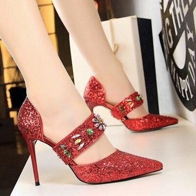 1ee7024f6 Negro Brillantes Altos rojo Señaló De champagne Tacones Mujeres Zapatos  Sandalias Lentejuelas 2018 Hueco Rhinestone Palabra ...