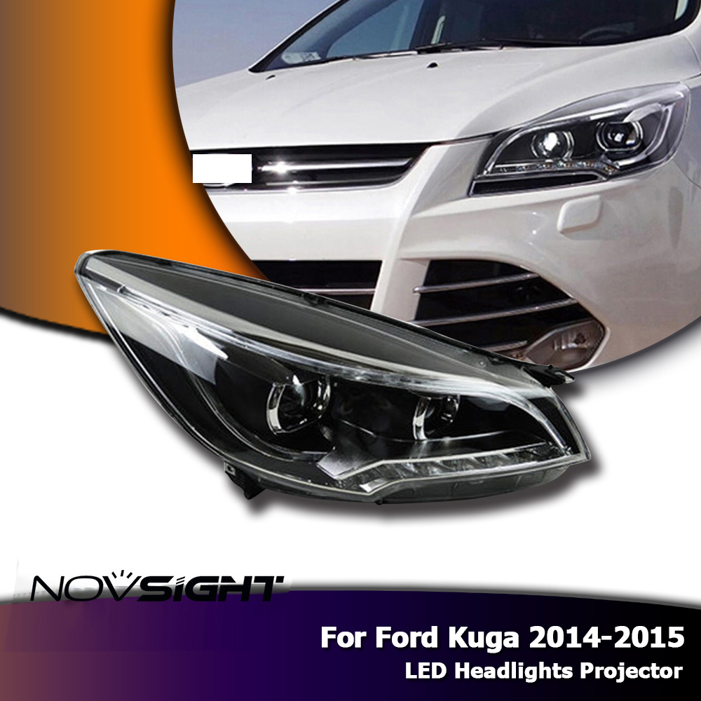 NOVSIGHT Car LED Light Projector Headlight DRL Fog Light Bi Xenon Lens For Ford Kuga 2014-2015