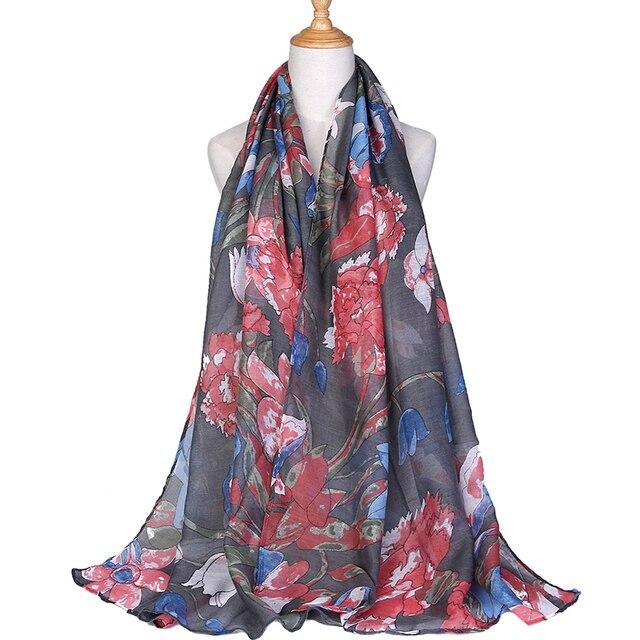 Invierno pashmina algodón gasa bufanda lujo marca 2019 nueva señora foulard planta estampado bufanda chal para mujeres de la india chal bufandas