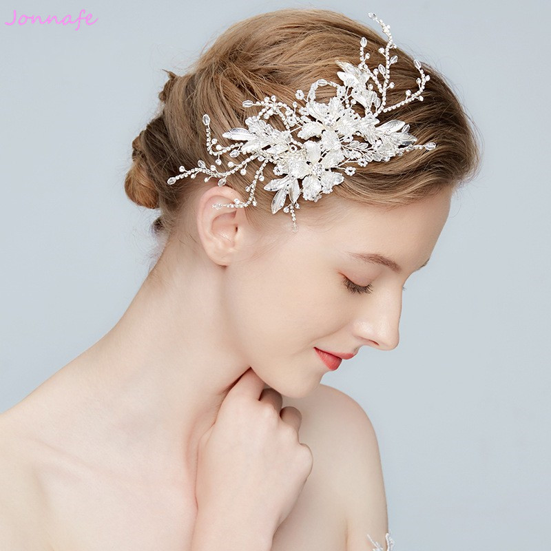 Jonnafe 2018 Silver Flower Bridal Headpiece Leaf Hair Clip Wedding Barrettes Hair Accessories Women Prom Tiara jonnafe handmade red flower wedding prom hair clip jewelry gold leaf bridal hair accessories comb headpiece