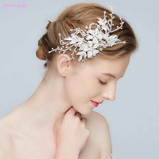 jonnafe 2018 silver flower bridal headpiece leaf hair clip wedding barrettes hair accessories women prom tiara