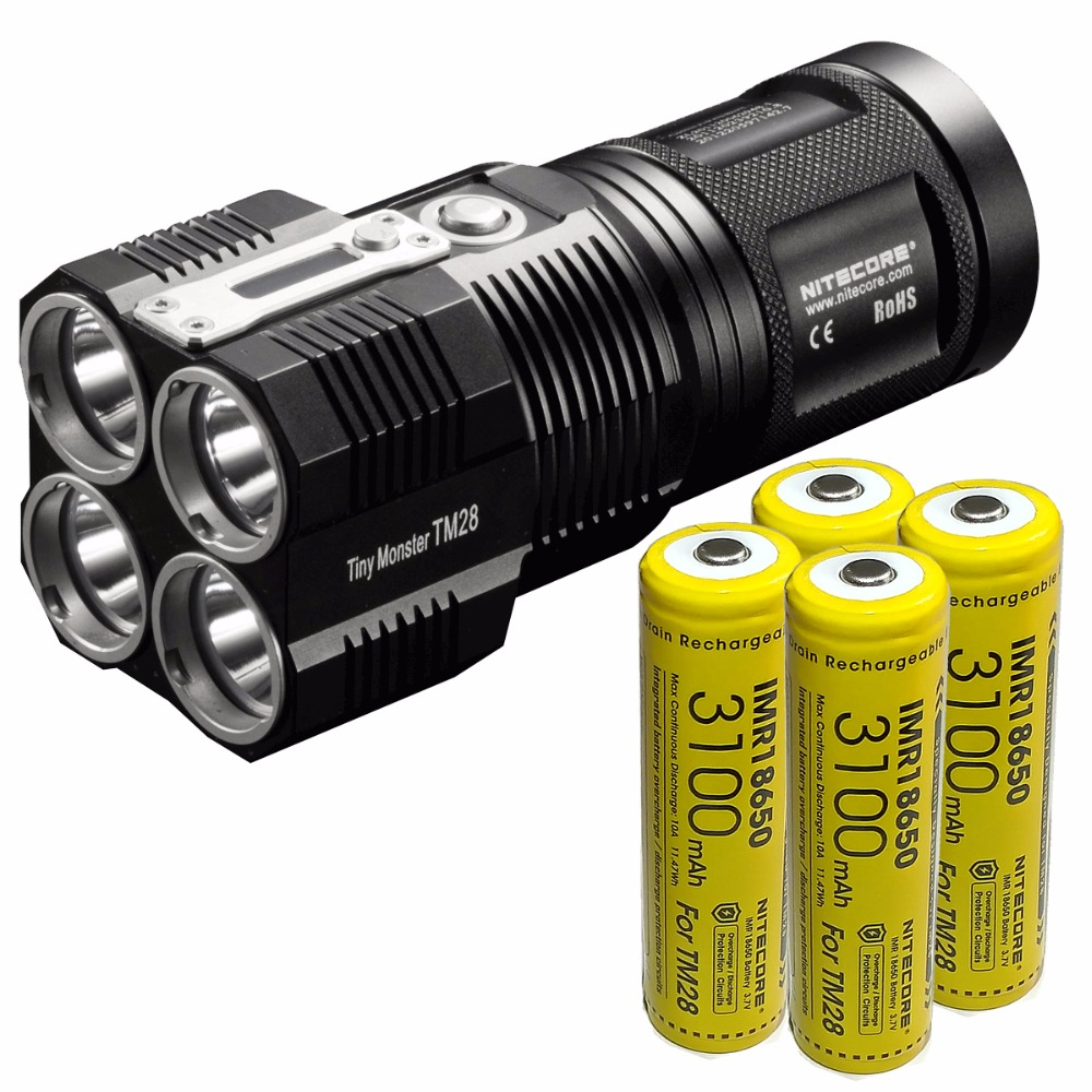 Free Shipping NITECORE TINY MONSTER TM28 6000 LMs CREE XHP35 HI 4xLED Rechargeable Hight Light Flashlight Gear Hunting Searching