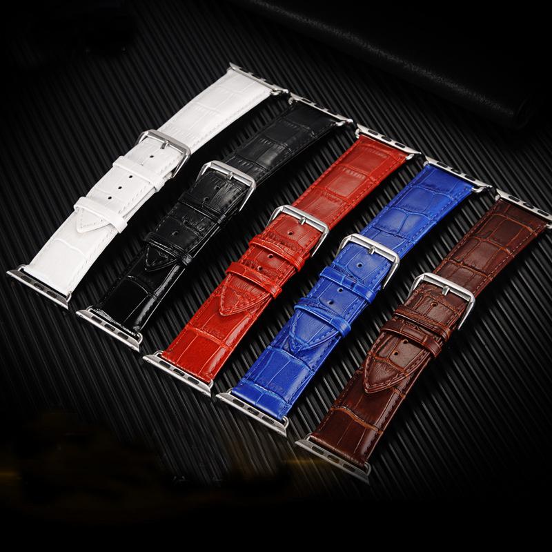Prix pour Hommes de montre-bracelet de courroie de bande en cuir bande pour apple watch série 1/2 38/42mm Noir Blanc Rouge Brun Bleu 5 Crocodile Motif I198