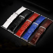Hommes de montre-bracelet de courroie de bande en cuir bande pour apple watch série 1/2 38/42mm Noir Blanc Rouge Brun Bleu 5 Crocodile Motif I198