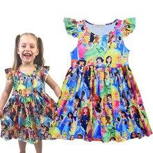 유니콘 꽃 미키 Dinosar 요정 공주 프린트 드레스 백설 공주 재스민 벨 Elsa 인쇄 의류 플라잉 슬리브 Frocks