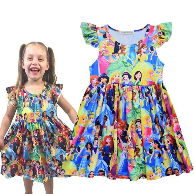 Unicorn Floral Mickey Dinosar Fairy Princess Print Dress Snow White Jasmine Belle Elsa Printing Clothing Flying Sleeves Frocks