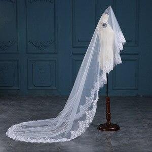 Image 3 - Romantic White/Ivory 3 Meters Wedding Veils Cathedral Veil Lace Edge One Layer Bridal Veil Wedding Accessories veu de noiva