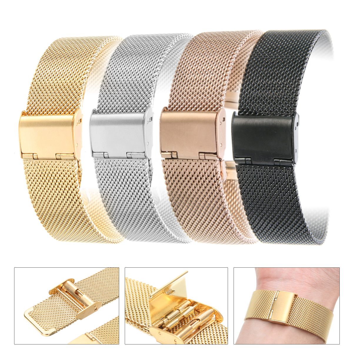 <font><b>12mm</b></font>/14mm/16mm/18mm/20mm/22mm/24mm Stainless Steel Watch Strap Straight End Bracelet Mesh <font><b>Buckle</b></font> Watch Band 4 Colors Shellhard image