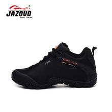 JAZOVO 2016 Homem Impermeável Tênis Para Caminhada Respirável Sapatos Ao Ar Livre Tamanho Grande Botas de Trekking Esporte Tênis Homens Sapatos À Prova D' Água Preta(China (Mainland))