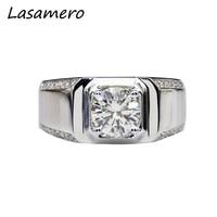 LASAMERO Ring For Women 1CT Round cut Certified Moissanite Ring 18k Gold Real Engagement Wedding Ring