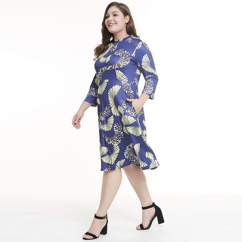 Women Autumn Vintage Plus Size Dress Floral Dress Round Neck Half Sleeve  High Waist Back Zip Party Dresses Fat MM -in Dresses from Women s Clothing  on ... ee612ff94