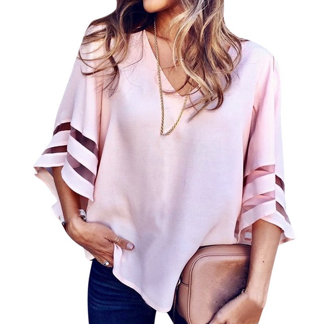 6e9672510a6 NIBESSER Women s Summer Tops 2018 V-neck Loose Women Sexy T-shirts Mesh  Patchwork tshirt Female Gothic Streetwear Tees Top Wear