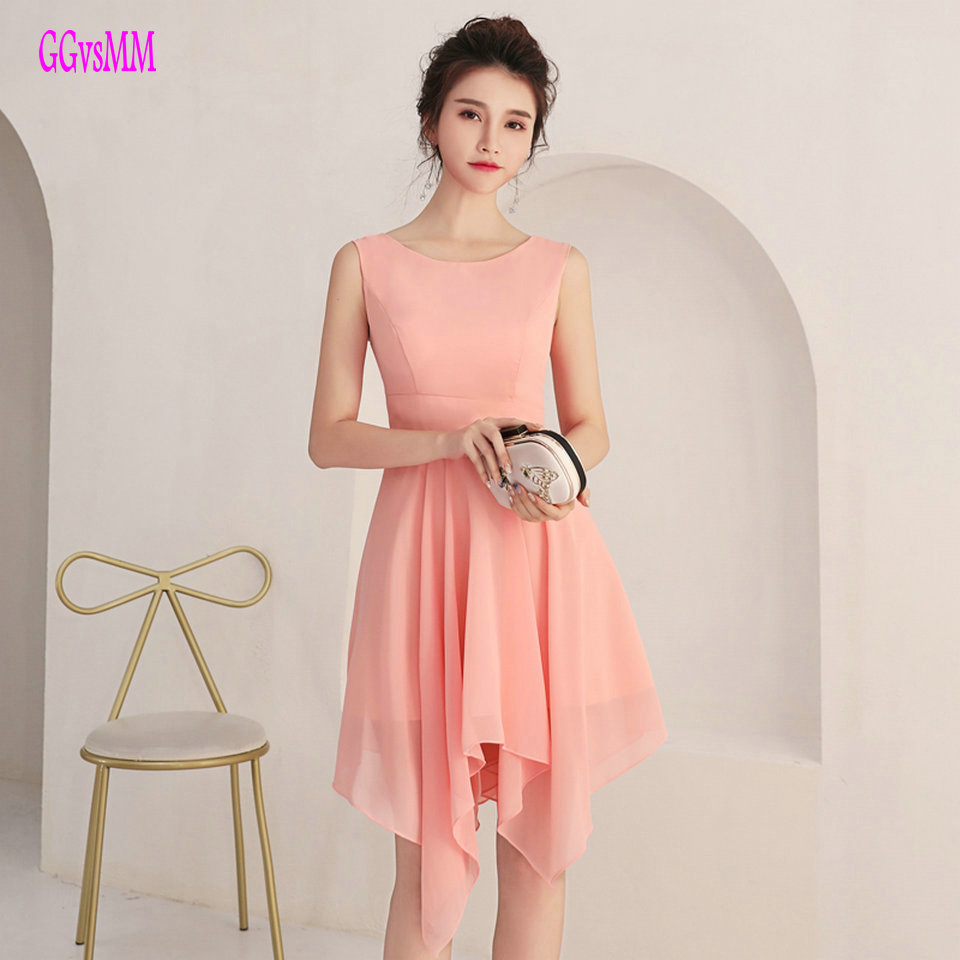 Elegant coral   Prom     Dresses   Short 2019 Sexy   Prom     Dress   Scoop Chiffon Zipper Women Cheap Homecoming Party Gown Customize Any Color