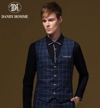 Men Blue Plaid Autumn Formal Suits Vests V-Neck Super Slim Business Man Wedding Groom Young Vest Classical Leisure Warm Fashion