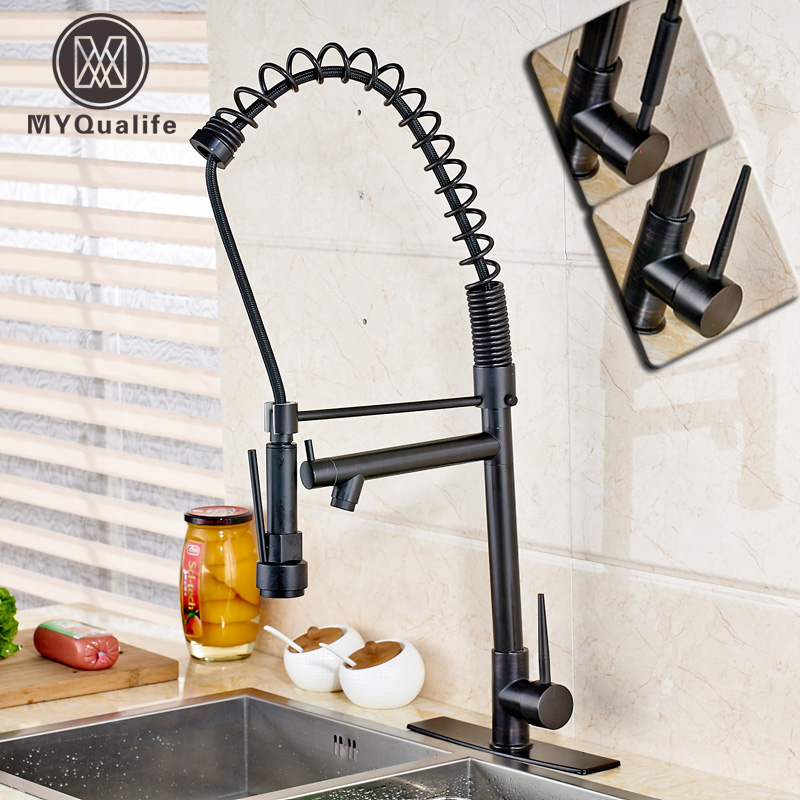 Single Lever Black Kitchen Faucet Oil Rubbed Bronze Spring Pull Down Bathroom Kitchen Water Taps With