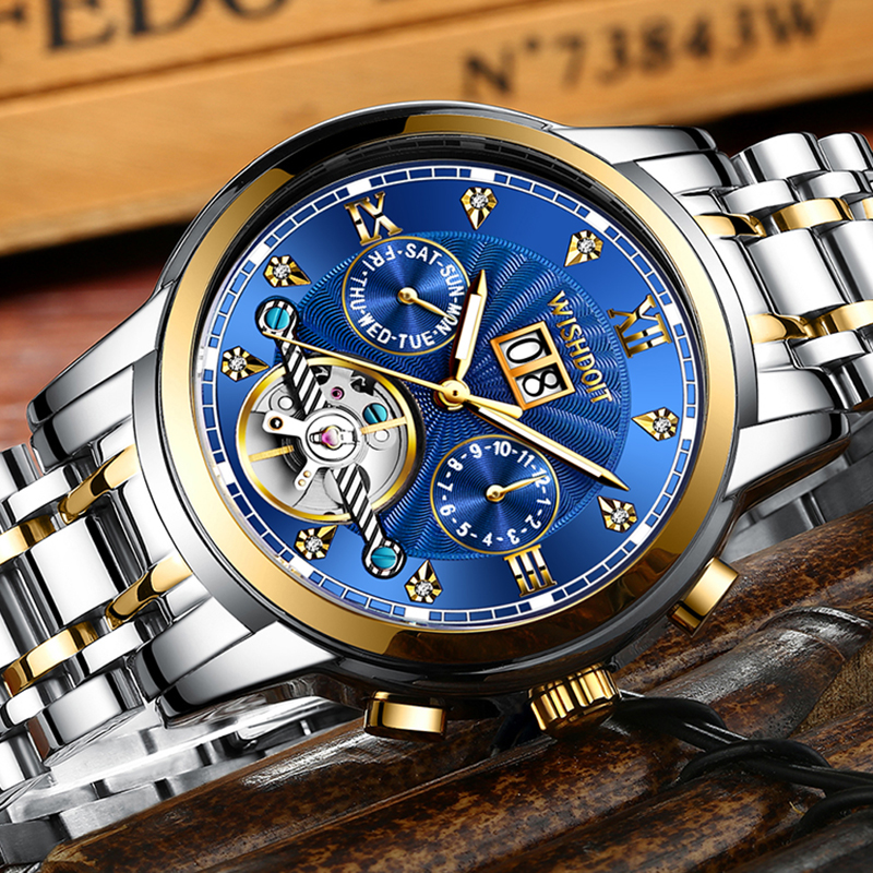 WISHDOIT New Men Watch Mechanical Tourbillon Luxury Fashion Stainless Steel Sport Watches Mens Automatic Watch Relogio Masculino 5