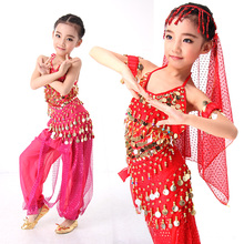 Belly Dance Kids Children Top Pant with Hip Scarf 5pcs Plus Size Handmade Kids Bollywood Indian