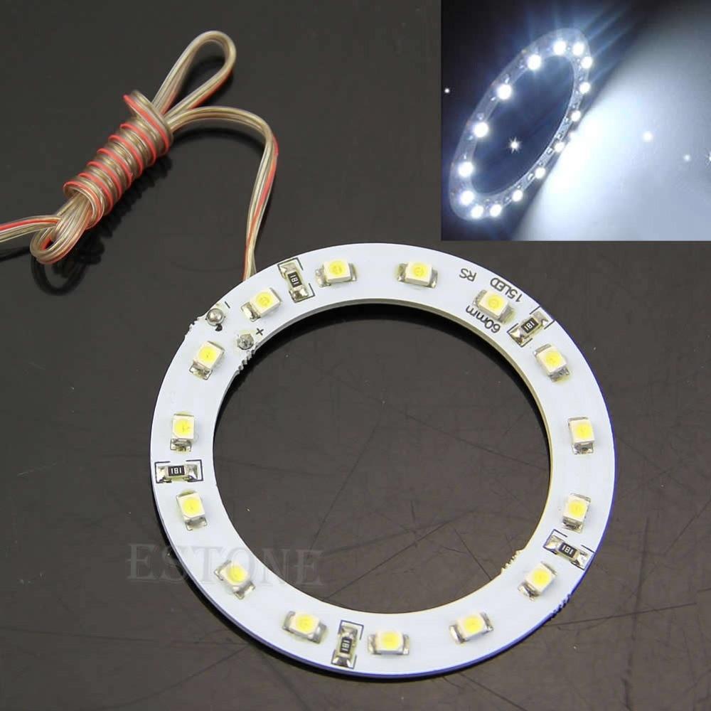 2Pcs Bright White 60mm Angel Eyes 15 SMD LED Ring Car Light