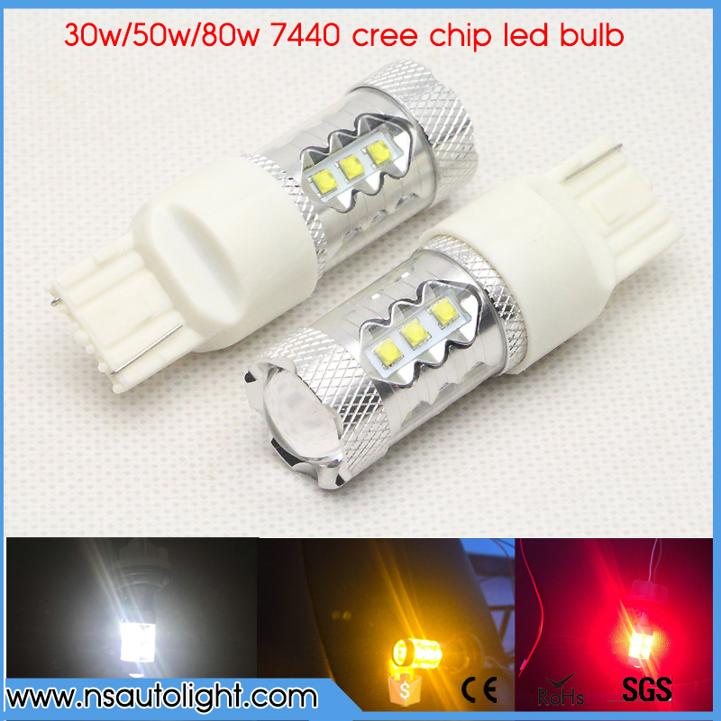 2x T20 7440 w21/5w w21w For CREE Chip Bulb White/Yellow/Red Auto Car LED Light Reverse Turn Signal Light DC12V 24V 2x t20 7443 7440 w21 5w w21w creechip bulb 6000k white auto car led for brake light reverse turn signal light dc12v 24v