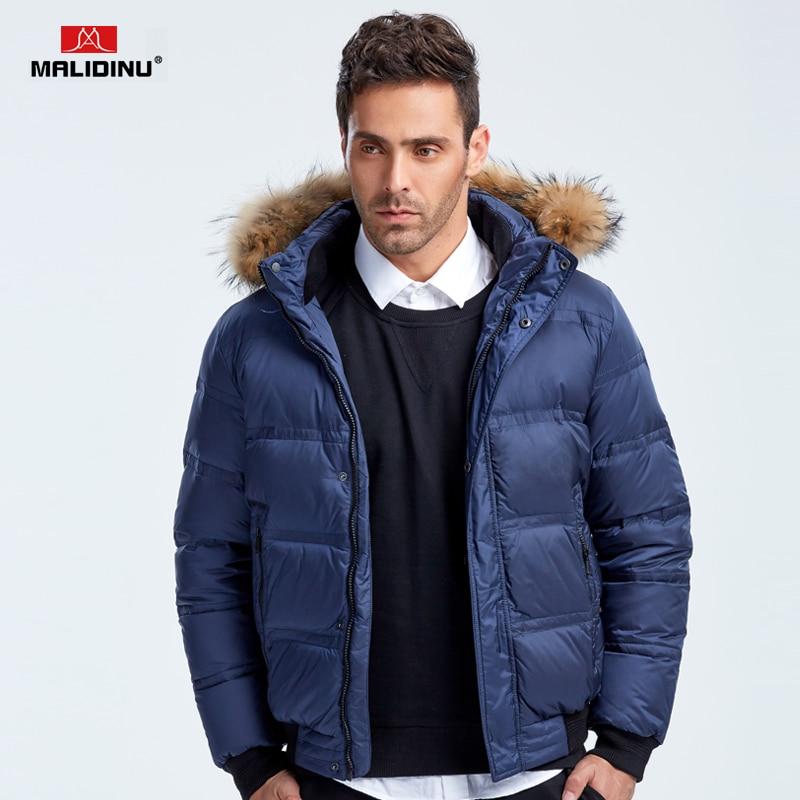 MALIDINU 2017 Fashion Men Down Jacket 70%White Duck Down Winter Thick Down Coat Brand Winter Jacket Fur Collar Free Shipping