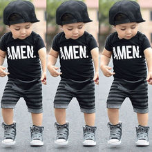 Toddler Baby Kids Boys Summer Clothes Tops T-shirt Pants Out