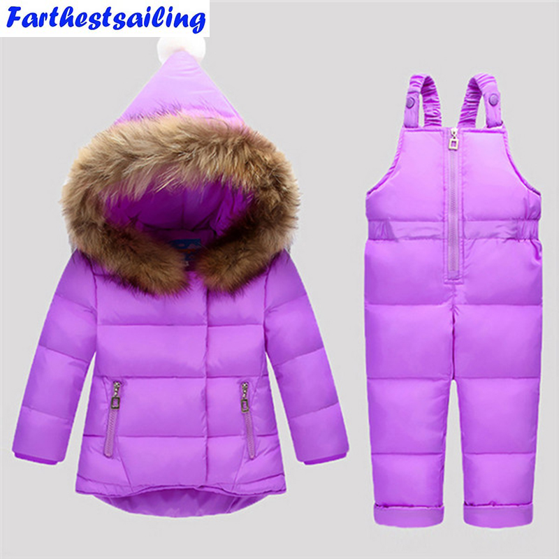 Down Jacket For Girls Snowsuit Winter Overalls For Boy Children Warm Jackets Toddler Outerwear Baby Suits Coat + Pant Set 2-4Y цена 2017