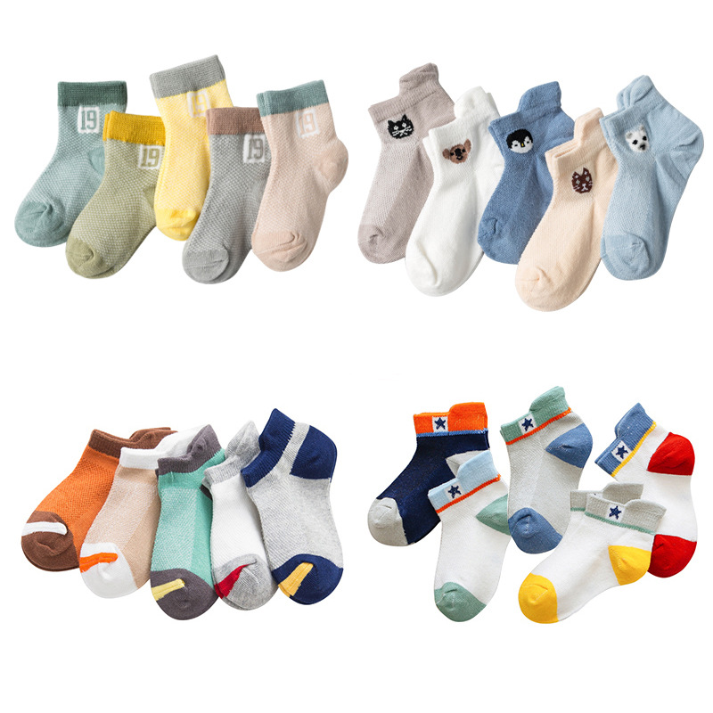 5 Pairs Children Socks For Boys Girls Baby Lovely Cartoon Star Number Breathable Mesh Ankle Socks Kids Clothes Accessorie